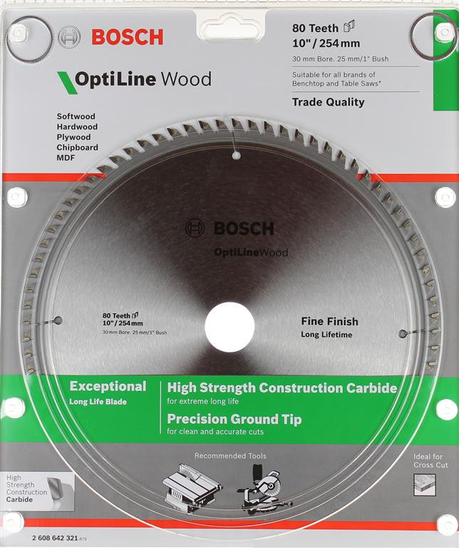 Bosch Optiline Wood Circular Saw Blade 254mm (10 Inch) 80 Teeth