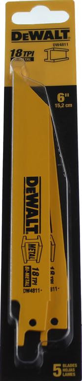DeWALT 152mm 18TPI Reciprocating Saw Blade DW4811 (5 Pack)