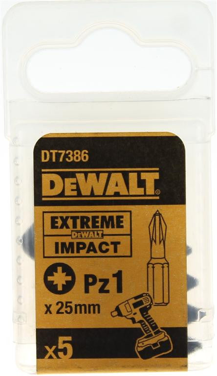 DeWALT 25mm Extreme Impact Pz1 Screwdriver Bits DT7386 (5 Pack)