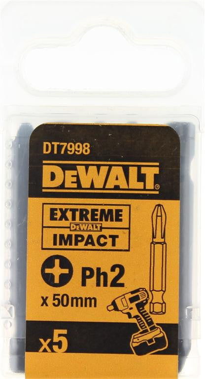 DeWALT 50mm Extreme Impact PH2 Screwdriver Bits DT7998 (5 Pack)