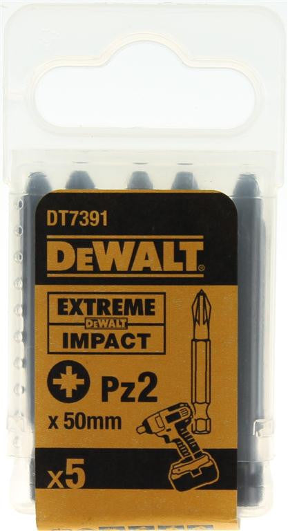 DeWALT 50mm Extreme Impact Pz2 Screwdriver Bits DT7391 (5 Pack)