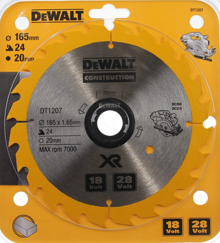 DeWALT Construction 165mm 24 Teeth Framing Circular Saw Blade DT1207