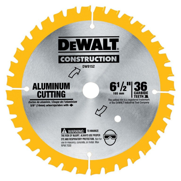 DeWALT Construction 165mm 36 Teeth Aluminum Cutting Circular Saw Blade DW9152