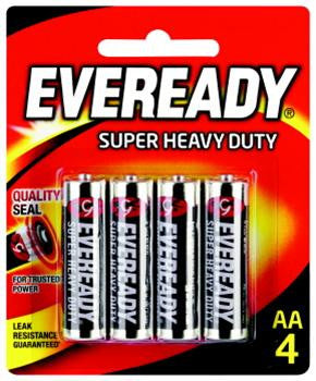 Eveready Super Heavy Duty AA Batteries 4 Pack