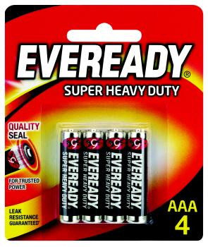 Eveready Super Heavy Duty AAA Batteries 4 Pack