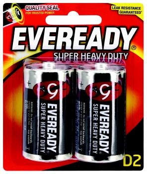 Eveready Super Heavy Duty D2 Batteries 2 Pack