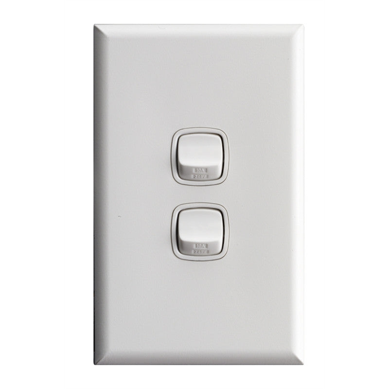 HPM Excel 10 Amp Two Gang Wall Light Switch