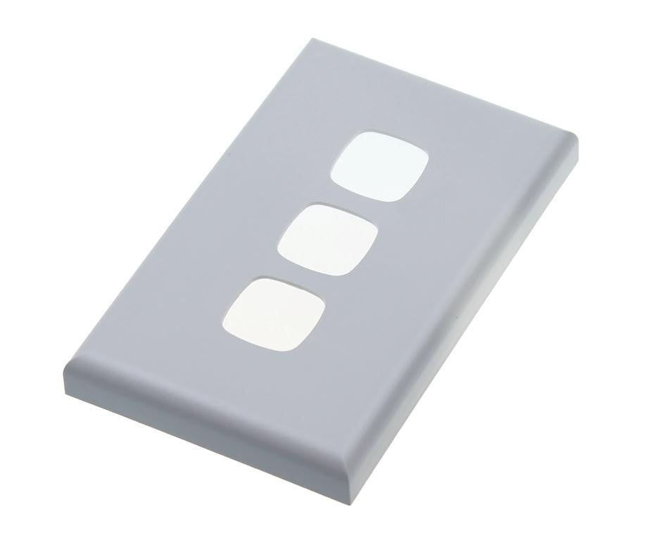 HPM Excel XL770/3 Three Gang Light Switch Cover Plate - Matt Silver