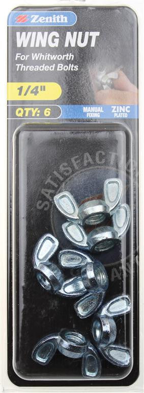 Zenith 1/4 Inch Diecast Wing Nuts Pack of 6