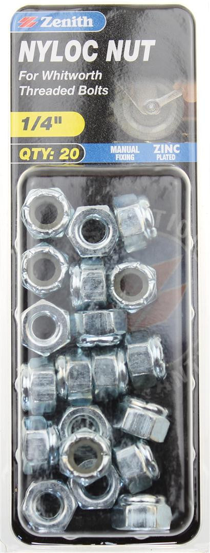 Zenith 1/4 Inch Nylon Lock Nuts Pack of 20