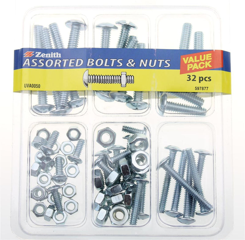 Zenith 32 Piece Assorted Bolts & Nuts
