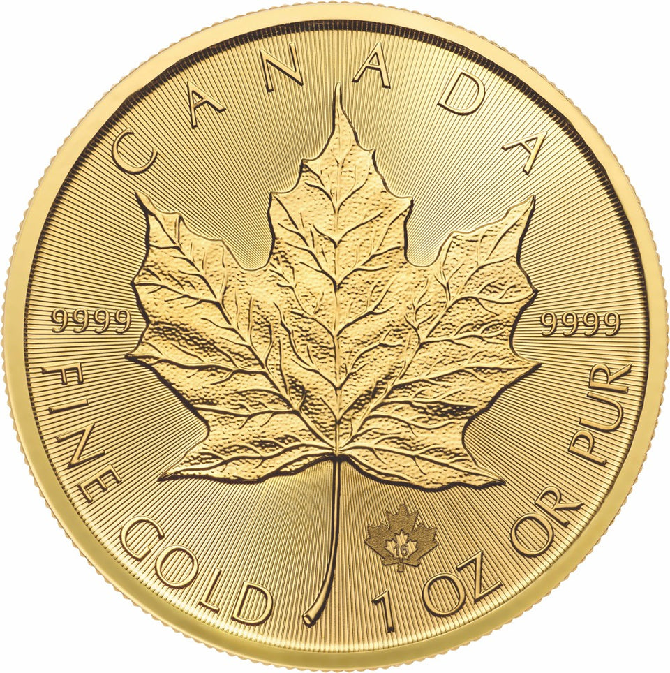 2016 1 Ounce (oz) .9999 Pure Gold Maple Leaf Bullion Coin