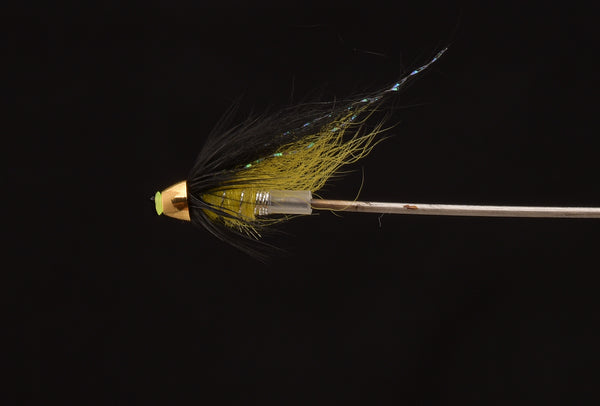 black and yellow micro tube salmon fly