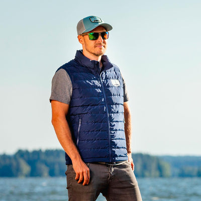 Down Vest Navy + Merino beanie bundle