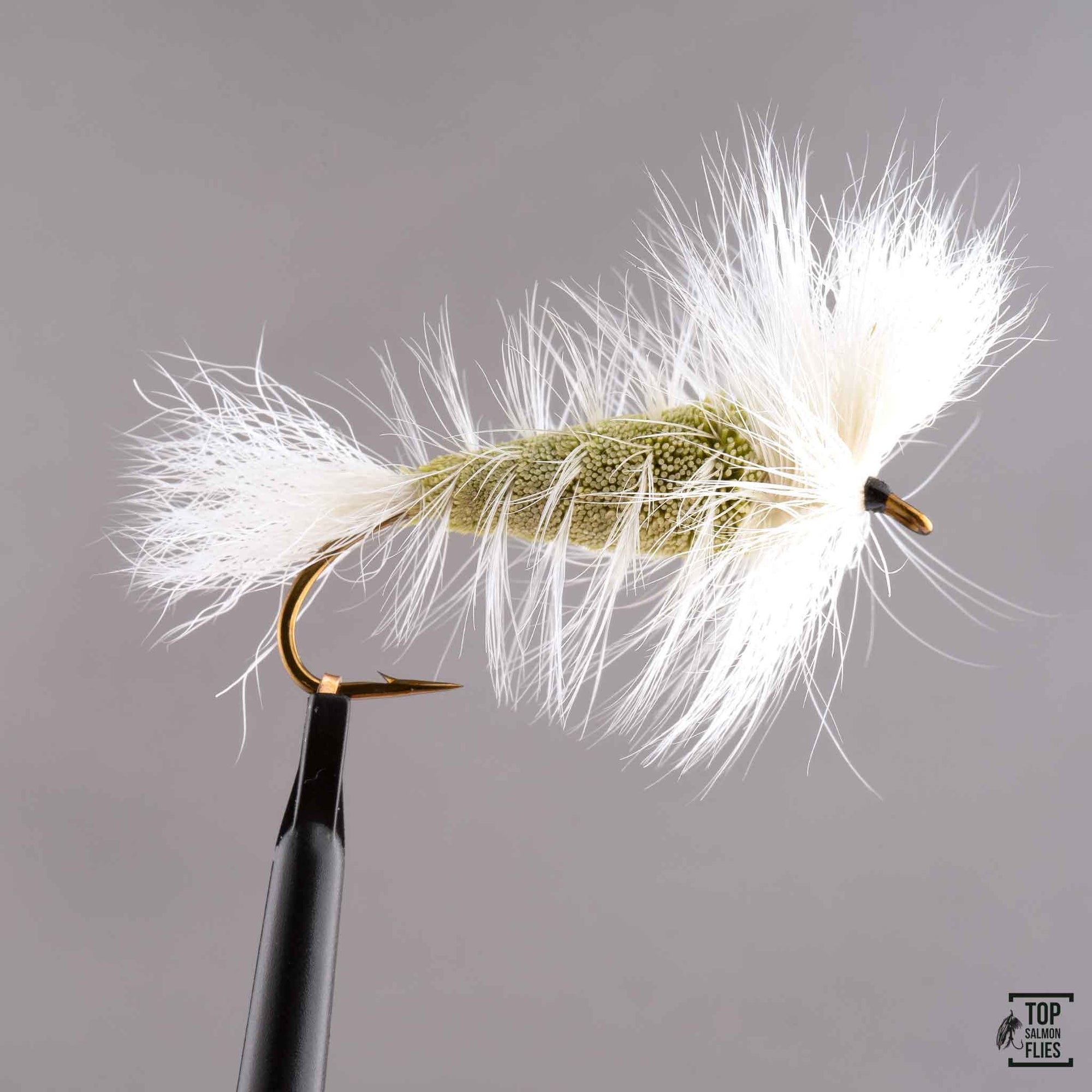 LIGHT OLIVE-White Tail-White Hackle Bomber