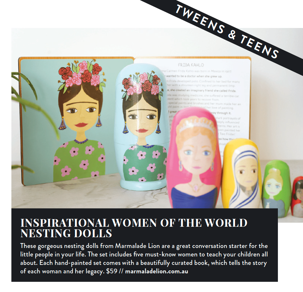 Kids on the Coast Christmas Gift Guide featuring our Inspirational Women of the World Nesting Dolls