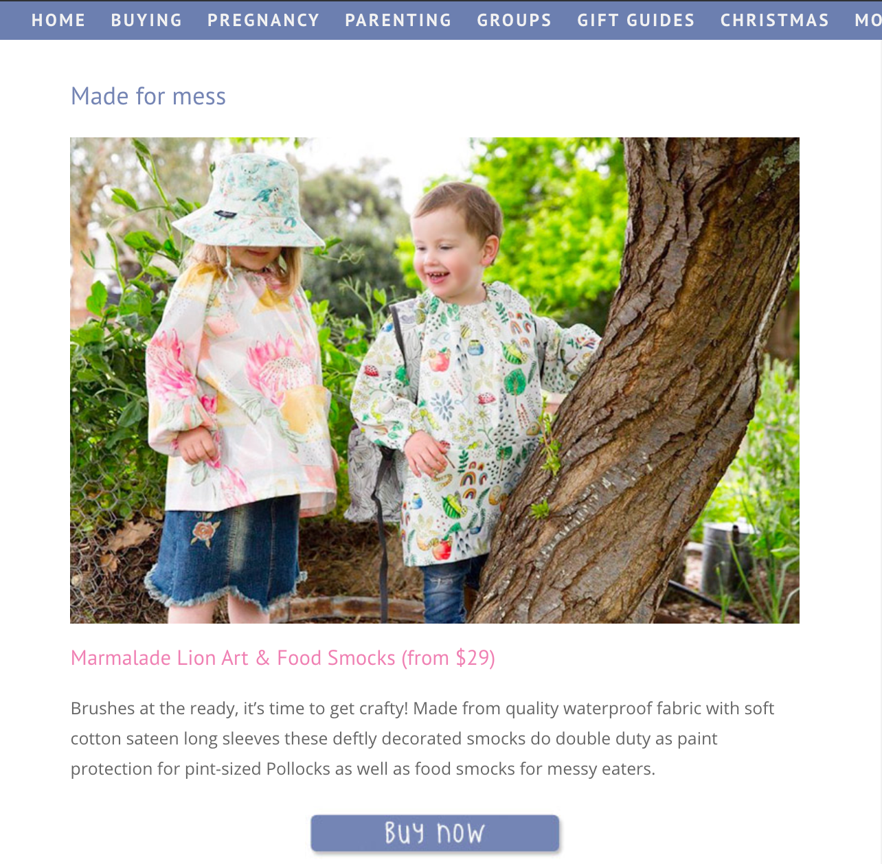 Mum's Grapevine Gift Ideas for Two year olds - featuring Marmalade Lion Art Smocks