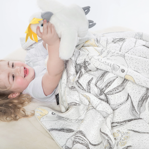 Marmalade Lion - All seasons tencel Cockatoo blanket bedspread
