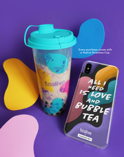 Love and Bubble Tea & Tealive Strawless Cup - KLEARLUX™ Limited Edition Tealive x Casesbywf Phone Case