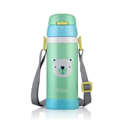 360ML RELAX 18.8 STAINLESS STEEL KIDS THERMAL FLASK WITH STRAW - GREEN