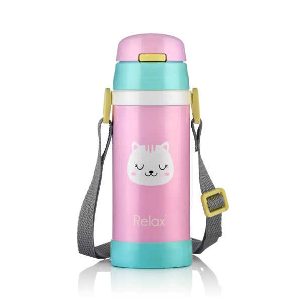 360ML RELAX 18.8 STAINLESS STEEL KIDS THERMAL FLASK WITH STRAW (PINK) - D2636-15