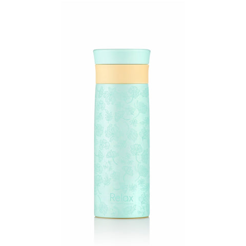 """3D TRANSPARENT FLOWER"" DOODLING ART 400ML 18.8 S/S THERMAL FLASK (TIFFANY BLUE)"