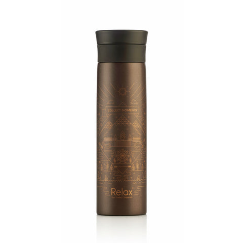 ''COLLECT MOMENTS '' 500ML 18.8 S/S THERMAL FLASK - METALLIC BROWN