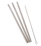 REUSABLE STAINLESS STEEL STRAW (STRAIGHT + THICK - 21.5CM) & BRUSH SET