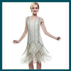 Cream Beaded Flapper - Hire