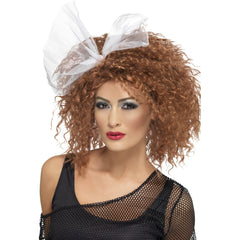 80's Wild Child Auburn Crimped Wig with White Tulle Bow