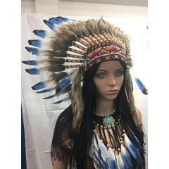 Blue Tipped Feather Headdress