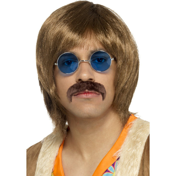 60's Hippie Kit includes Brown Wig, Lennon Glasses and Moustache