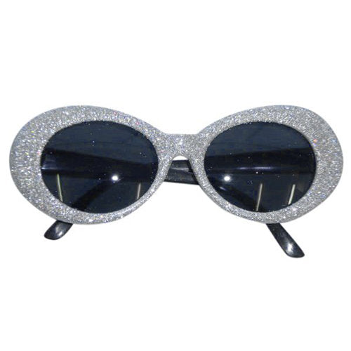 70s Groovy Glitter Glasses - Silver