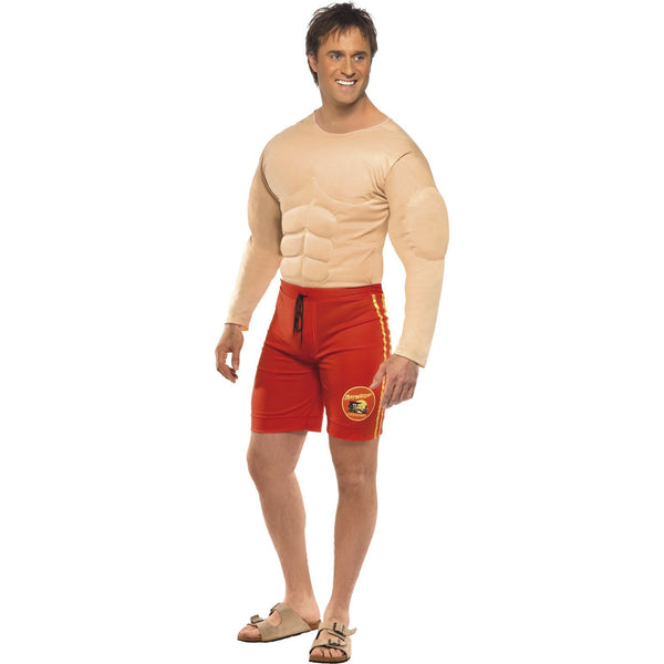 Baywatch Lifeguard Costume with Muscle Chest