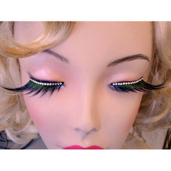 X Large Black and Green Lashes with Crystals