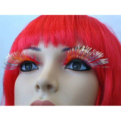 Eyelashes - Red Feathery with Silver Tinsel
