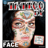 Tinsley FX Full Face Temp Tattoo - Candy Skull