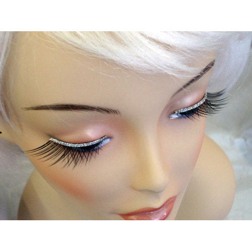 Eyelashes - Black with Silver Glitter