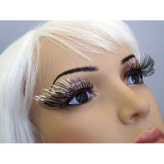 Eyelashes-Silver & Black Tinsel Long