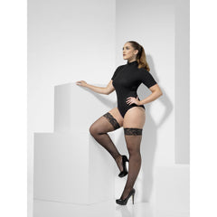 Fishnet Hold-Ups Lace Top with Silicone - Extra Large