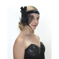Flapper Headband - Black Net