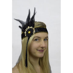 Flapper Headband Black and Gold