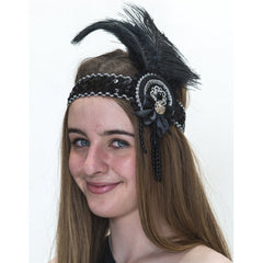 Flapper Headband Blk/Sil