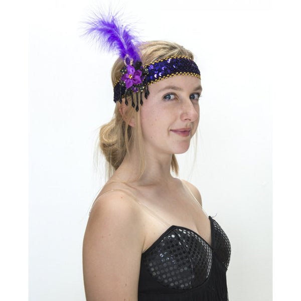 Flapper Headband - Purple and Gold