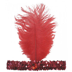 20's Headband Sequined - Red