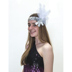 Flapper Headband - Silver and White