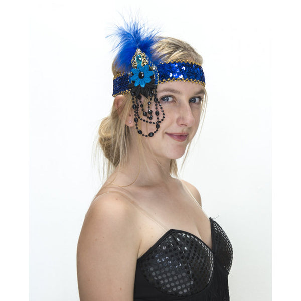 Flapper Headband  Blue and Gold