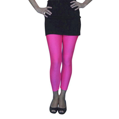 Lycra Footless Tights-Neon Pink