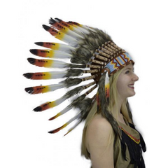 Orange Tipped Feather Headdress