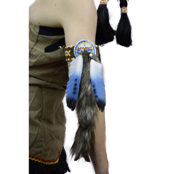 Indian Set of 2 feather Armbands - Blue